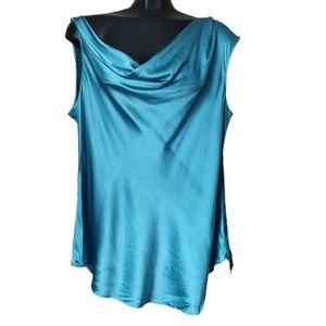 Elie Tahari Silk Cowl Neck Sleeveless Blouse XL